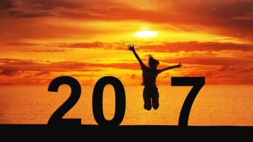 woman jumping New Year 2017